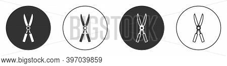 Black Gardening Handmade Scissors For Trimming Icon Isolated On White Background. Pruning Shears Wit