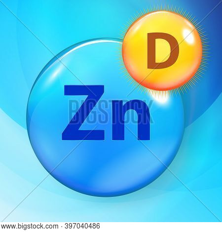 Mineral Zn Zink Blue Shiny Pill Capsule Icon Vitamin D. Vector Illustration