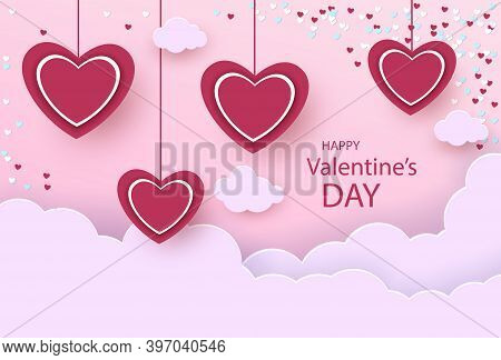 Illustration of love background for happy valentines day card with hearts. Happy Valentines Day card with hearts, cupids and place for your text vector illustration. Valentines day background. Valentine, valentine day, Valentines Day background, Valentine