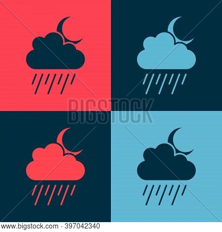 Pop Art Cloud With Rain And Moon Icon Isolated On Color Background. Rain Cloud Precipitation With Ra