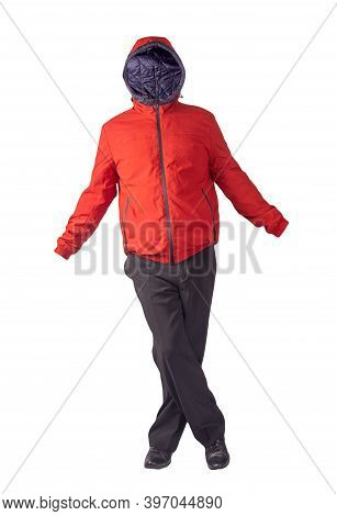 Mens Red Jacket With A Hood , Black Pants And Black Leather Shoes Isolated On White Background. Mens