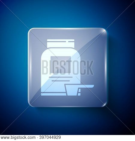 White Sports Nutrition Bodybuilding Proteine Power Drink And Food Icon Isolated On Blue Background.