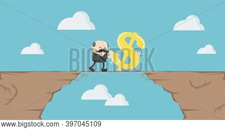 Elderly Businessman Trying To Move A Dollar Symbol Through The High Mountains, With Effort