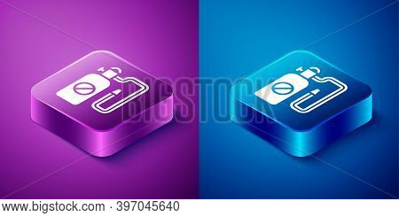 Isometric Pressure Sprayer For Extermination Of Insects Icon Isolated On Blue And Purple Background.