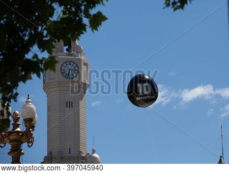 Buenos Aires, Argentina - 26 November, 2020: Funeral balloon with number 10 in the sky over Buenos Aires on Diego Maraudon's farewell day