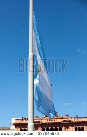 Buenos Aires, Argentina - 26 November, 2020: Argentine flag on the day of farewell to Diego Maradona in Buenos Aires