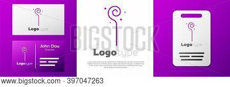 Logotype Magic Staff Icon Isolated On White Background. Magic Wand, Scepter, Stick, Rod. Logo Design