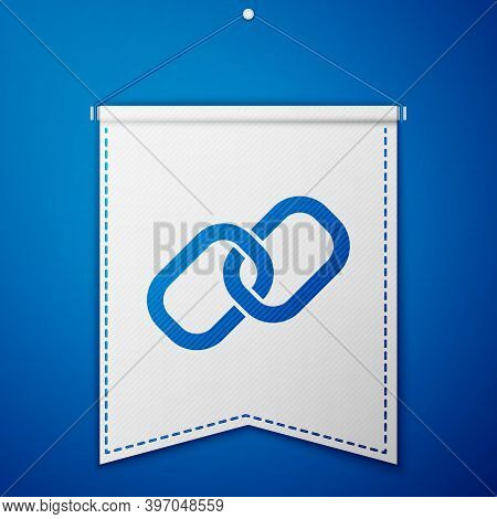Blue Chain Link Icon Isolated On Blue Background. Link Single. Hyperlink Chain Symbol. White Pennant