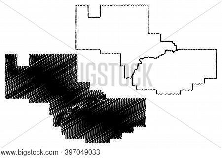 Prairie County, Montana (u.s. County, United States Of America, Usa, U.s., Us) Map Vector Illustrati