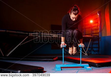 Young Attractive Woman Practicing Yoga, Standing In Hand Balance Exercise, Handstand, Workout, In Sp