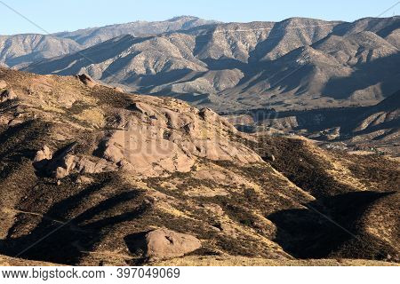 Arid Mountains With Rock Formations Uplifted From The Earth By Fault Activities Taken On The San And