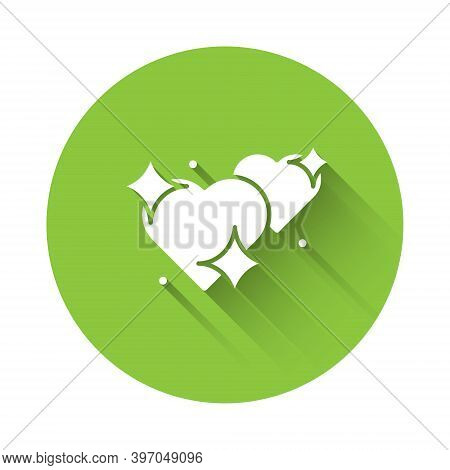 White Two Linked Hearts Icon Isolated With Long Shadow. Romantic Symbol Linked, Join, Passion And We