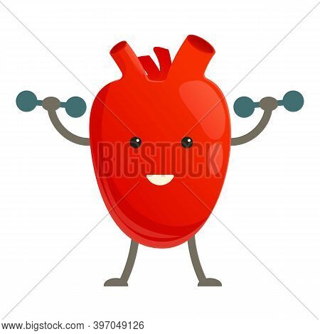 Healthy Heart With Dumbbells Icon. Cartoon Of Healthy Heart With Dumbbells Vector Icon For Web Desig