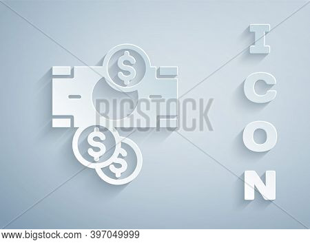 Paper Cut Stacks Paper Money Cash And Coin Money With Dollar Symbol Icon Isolated On Grey Background