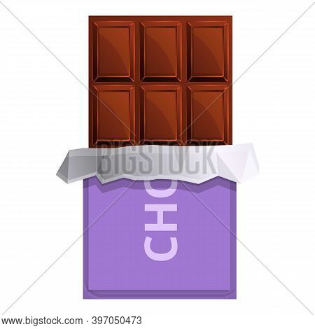 Swiss Chocolate Bar Icon. Cartoon Of Swiss Chocolate Bar Vector Icon For Web Design Isolated On Whit