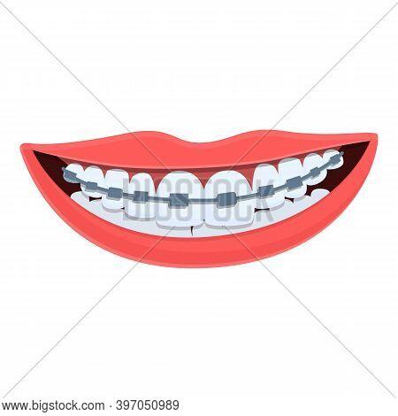 Smile Tooth Braces Dental Icon. Cartoon Of Smile Tooth Braces Dental Vector Icon For Web Design Isol