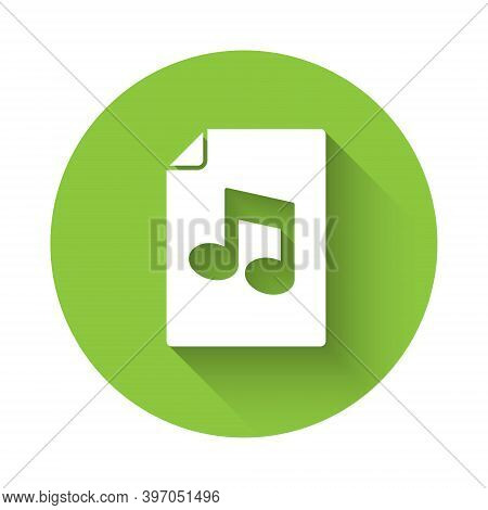 White Music Book With Note Icon Isolated With Long Shadow. Music Sheet With Note Stave. Notebook For