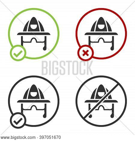 Black Firefighter Helmet Or Fireman Hat Icon Isolated On White Background. Circle Button. Vector