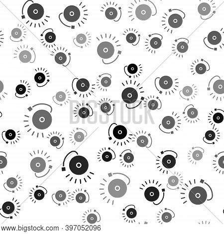 Black Ringing Alarm Bell Icon Isolated Seamless Pattern On White Background. Fire Alarm System. Serv