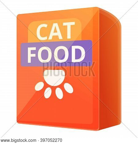 Cat Food Carton Pack Icon. Cartoon Of Cat Food Carton Pack Vector Icon For Web Design Isolated On Wh