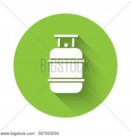 White Propane Gas Tank Icon Isolated With Long Shadow. Flammable Gas Tank Icon. Green Circle Button.
