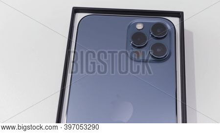 London, England - 11.23.2020: Close Up Of Lidar Sensor And Triple Cameras On New Iphone 12 Pro Max.