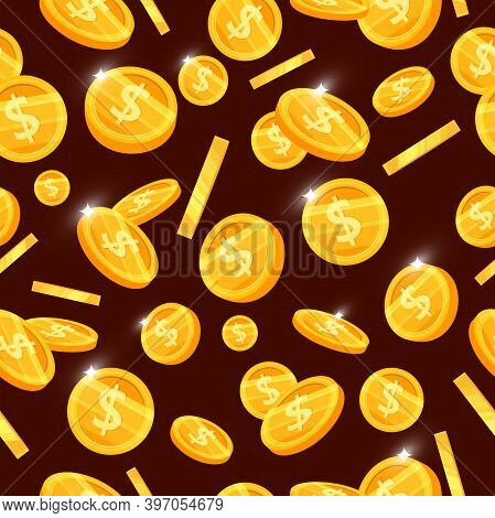 Golden Coin Vector Seamless Pattern With Flying Money On Brown Background. Good Luck Or Jackpot Casi