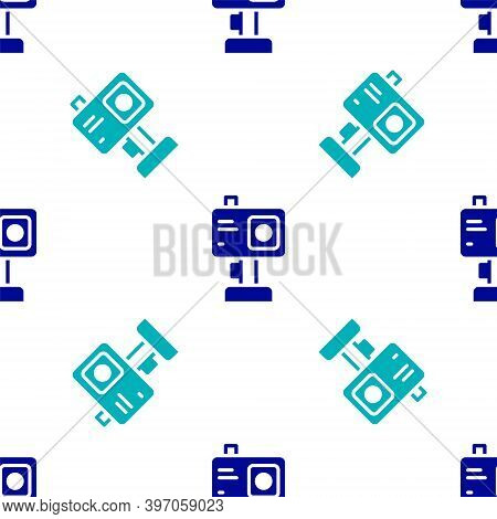 Blue Action Extreme Camera Icon Isolated Seamless Pattern On White Background. Video Camera Equipmen