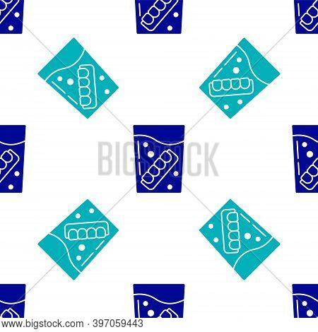 Blue False Jaw In Glass Icon Isolated Seamless Pattern On White Background. Dental Jaw Or Dentures,
