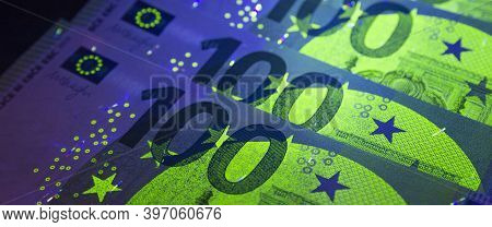 Euro Currency In Uv Light Protection.euro In Uv Light.euro Currency In Uv Light Protection.