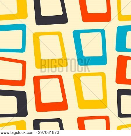 Mid Century Fifties Modern Square Retro Colors Seamless Vector Pattern. Part Of Collection