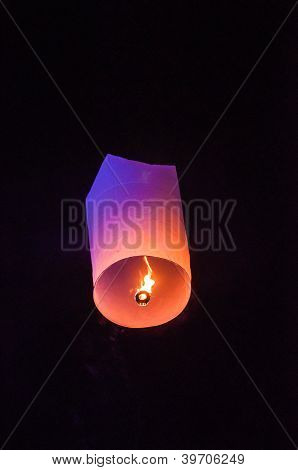 Single Floating Lantern during Loy Kratong Festival in Thailand poster