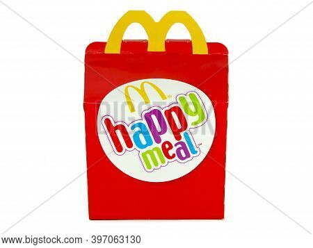 Bucharest, Romania - September 9, 2016. Mcdonald's Happy Meal Packaging Isolated On White