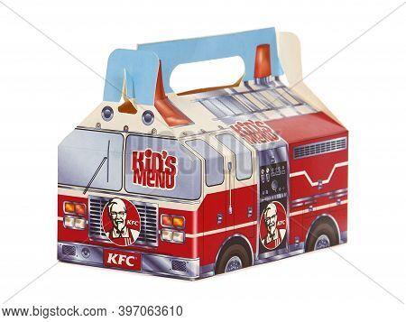 Krakow, Poland - August 17, 2016. Kfc Kid's Menu Box, That Contain Crispy Chicken, Crispy Strips And