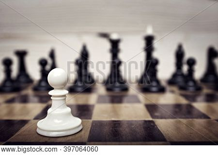 Single Pawn Against Many Enemies As A Symbol Of Difficult Unequal Fight