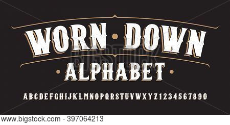 Worn Down Alphabet Font. Hand Written Letters And Numbers. Stock Vector Typeface For Your Typography