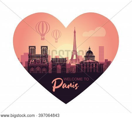 Stylized Heart-shaped Landscape Of Paris With Eiffel Tower, Arc De Triomphe And Notre Dame Cathedral