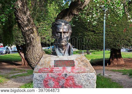 Punta Arenas, Patagonia, Chile - 21 Dec 2019: The Statue In Punta Arenas, Patagonia, Chile