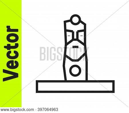Black Line Slavic Pagan Idol Icon Isolated On White Background. Antique Ritual Wooden Idol. Vector