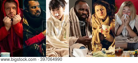 Danger. Young People Wrapped In A Plaid Looks Sick, Ill, Sneezing And Coughing. Multiethnic Group Co
