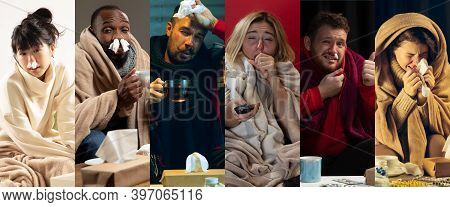 Season. Young People Wrapped In A Plaid Looks Sick, Ill, Sneezing And Coughing. Multiethnic Group Co