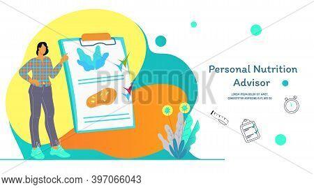 Nutrition Advisor Website Banner With Nutritionist, Flat Vector Illustration.