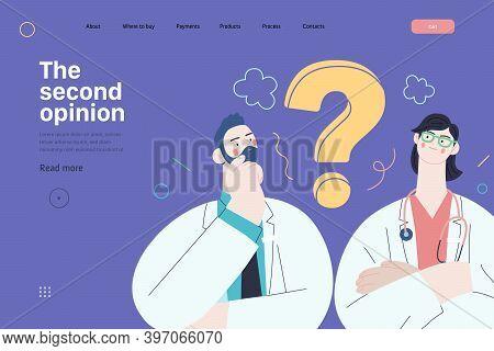 Medical Insurance Template -second Opinion On A Matter -modern Flat Vector Concept Digital Illustrat