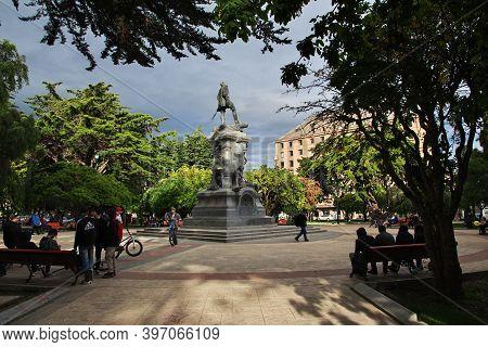 Punta Arenas, Patagonia, Chile - 21 Dec 2019: Magellan Monument In Punta Arenas, Patagonia, Chile