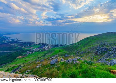 Morning View Of The Sea Of Galilee, From The West (mount Arbel). Northern Israel