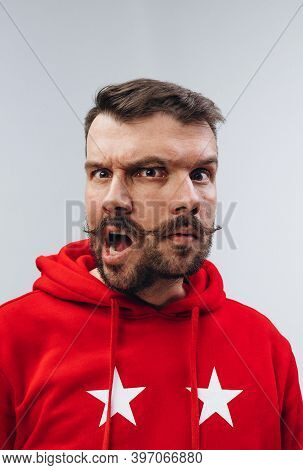 Calm And Crazy. Young Man With Dual Emotions Combination On Face Isolated On White Background, Emoti