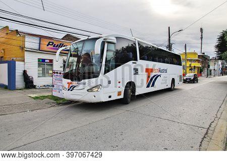 Punta Arenas, Patagonia, Chile - 21 Dec 2019: The Bus In Punta Arenas, Patagonia, Chile
