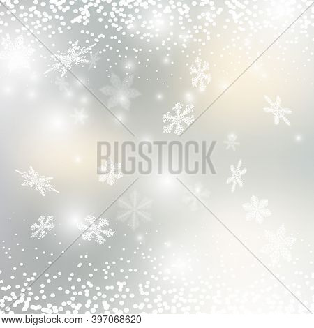 Snow Flakes, Snow Background. Christmas Snow. Falling Snowflakes On Bright Shining Background. Xmas