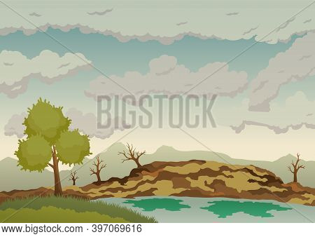 Polluted Earth. Landscape With Nature Ecology Elements And Ecology Problem Concept In Flat Style. Di