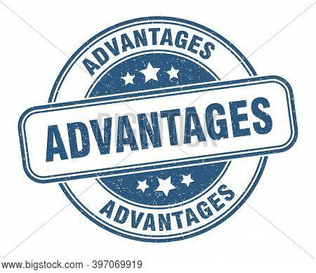 Advantages Stamp. Advantages Label. Round Grunge Sign